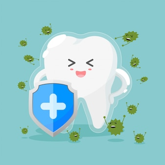 Cute tooth characters in flat style. healthy teeth and shield, anti-caries and protection bacteria.