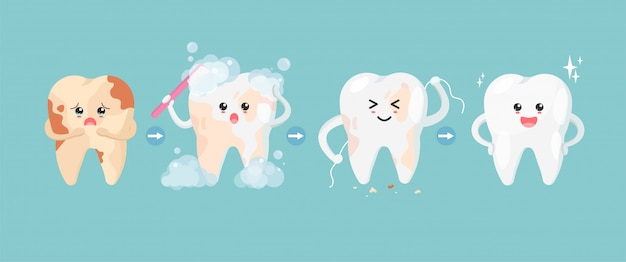 Симпатичные зубы персонажей в плоском стиле. шаг чистки зубов от пятен. от нездоровых зубов до здоровых зубов.