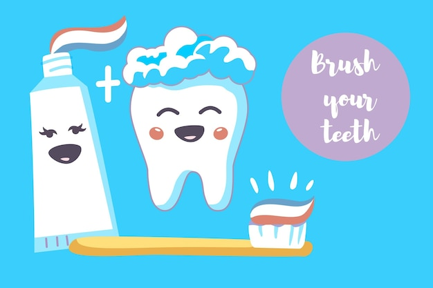 明るい青色の背景の漫画のベクトルに歯ブラシと歯磨き粉とかわいい歯のキャラクター