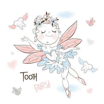 Милая зубная фея летит с маленькими зубами.