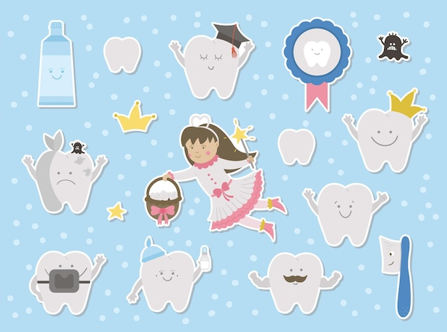 Cute tooth fairy stickers set. kawaii fantasy princess with funny smiling toothbrush, molar, medal, toothpaste, teeth. funny dental care picture for kids. dentist baby clinic clipart