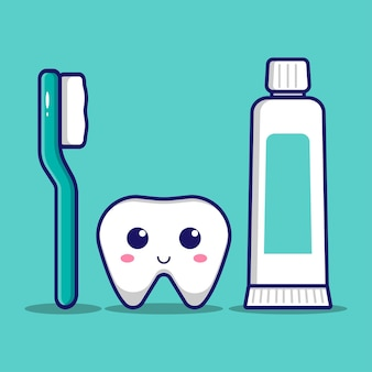 Cute tooth with toothbrush and toothpaste design