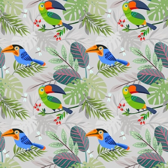 Cute toucan bird in forest pattern.
