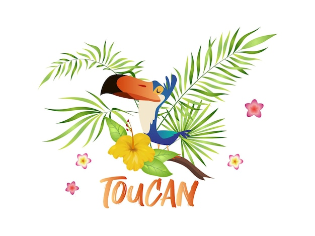 Cute toucan cartoon. bird with tropical branch and leaves, colorful exotic character sitting on palm tree and hibiscus bloom, vector isolated illustration with text