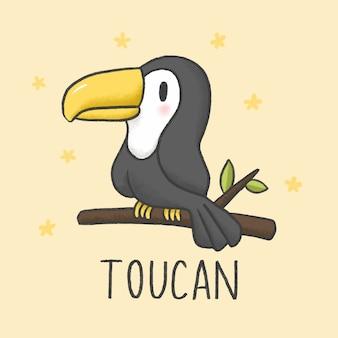 Cute Toucan мультфильм рисованной стиль