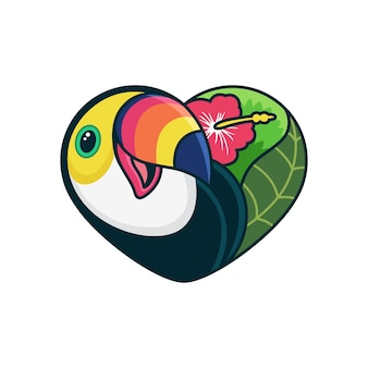 Cute toucan cartoon with love cartoon  icon illustration. animal icon concept on white background