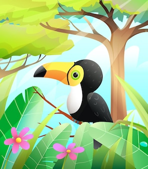 Cute toucan in green nature with trees and tropical forest background colorful toucan bird for kids