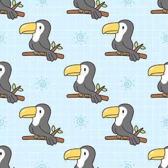 Cute toucan seamless pattern