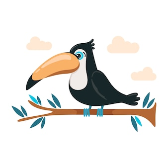 Cute  toucan sitting on a branch