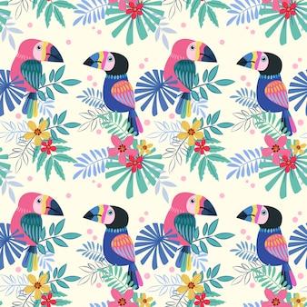 Cute  toucans bird seamless pattern.