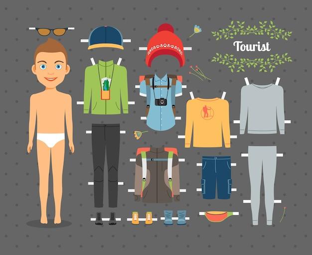 Симпатичный туристический мальчик бумажная кукла с набором одежды и обуви для пеших прогулок на сером фоне бесшовные
