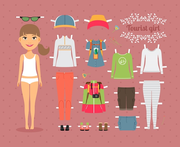 Cute tourist girl paper doll with set of fashionable clothes and shoes on seamless pink background.