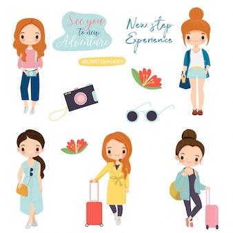 Cute tourist girls cartoon  with travel theme