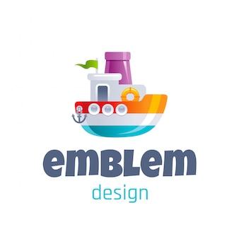 Cute toy steamship logo. cartoon baby ship icon.