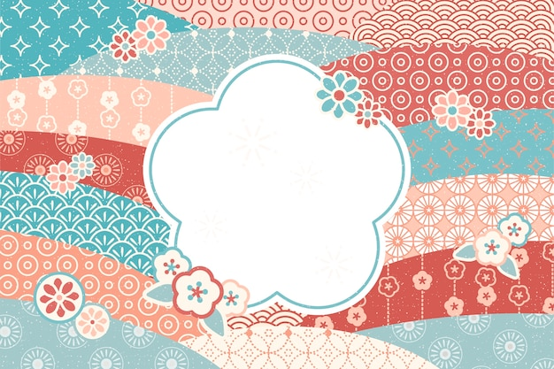 Cute traditional  flowers pattern with blank copy space for greeting words