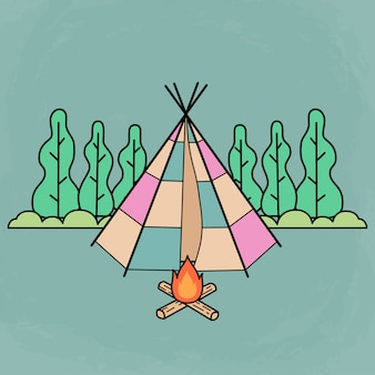 Cute traditional tent for camping with camp fire and using flat design