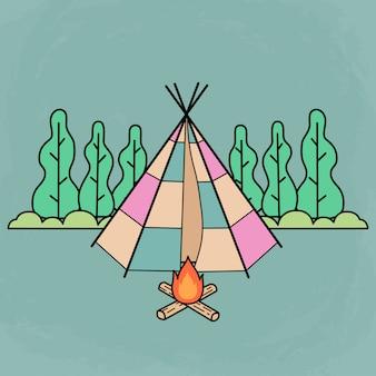 キャンプファイヤーでキャンプし、フラットなデザインを使用するためのかわいい伝統的なテント