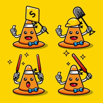 Cute traffic cone characters set