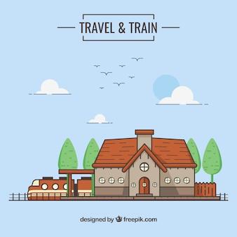 귀여운 기차역 배경