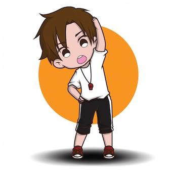 Cute trainer cartoon character.