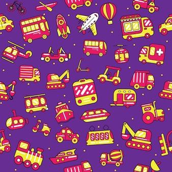 Cute transport seamless pattern in flat design style