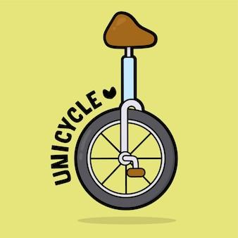 Милый транспортный автомобиль мультфильм со словарным одноколесным велосипедом