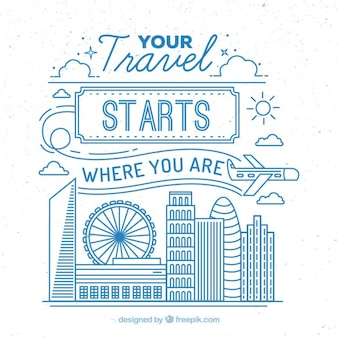 Cute travel illustration with blue outline