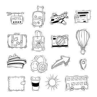 Cute travel or vacation icons with doodle style