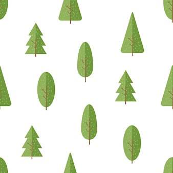 かわいい木の漫画のシームレスパターン