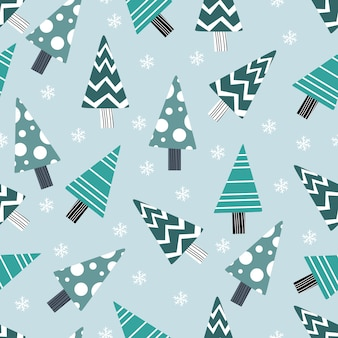 Cute tree seamless pattern for winter and christmas