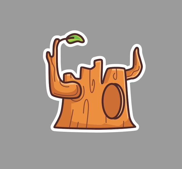 귀여운 나무 줄기 구멍. 만화 개체 개념 격리 된 그림입니다. 스티커 아이콘 디자인 프리미엄 로고 벡터에 적합한 플랫 스타일 프리미엄 벡터