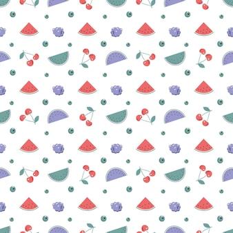 체리 나무 딸기와 수박 귀여운 유행 봄 또는 여름 원활한 패턴
