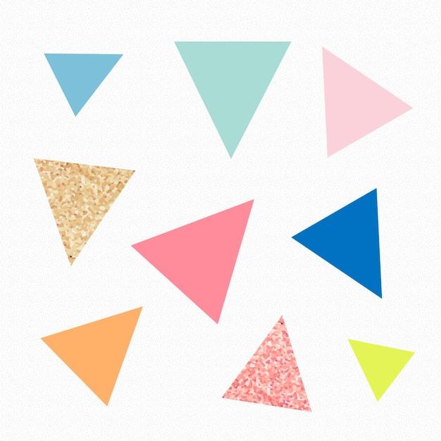 Simpatico adesivo a forma di triangolo, glitter pastello colorato, set vettoriale di clipart geometriche