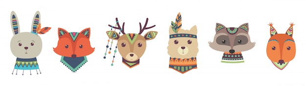 Cute tribal animal faces isolated on white background