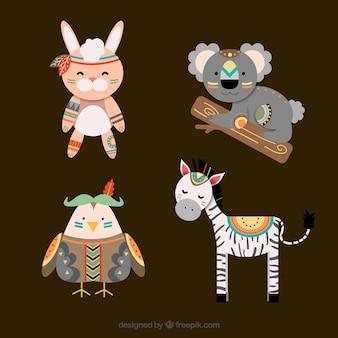 Cute tribal animal set