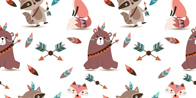 Cute tribal animals seamless pattern