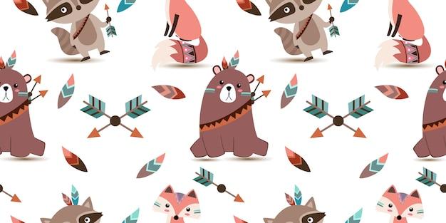 Cute tribal animals seamless pattern