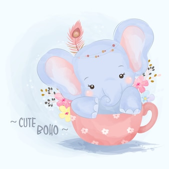 Cute tribal baby elephant illustration