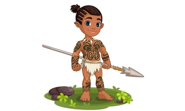 Cute tribal boy holding spear illustration