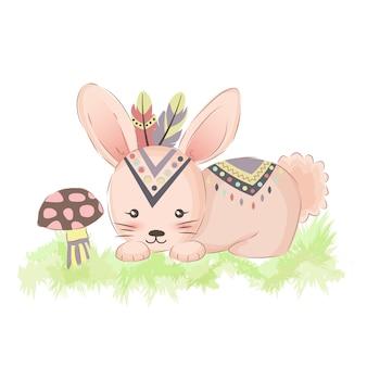 Cute tribal bunny for nursery art