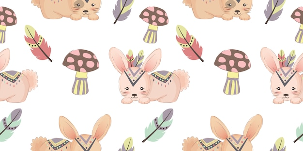 Cute tribal bunny seamless pattern