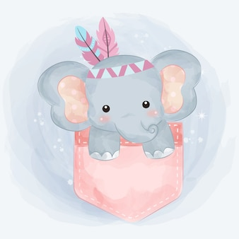 Cute tribal elephant illustration