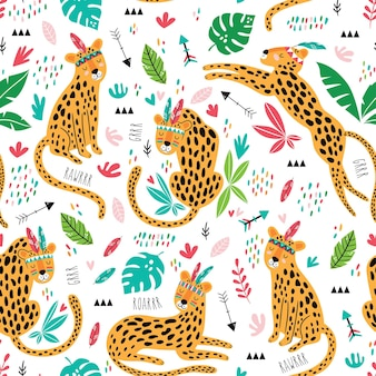 Cute tribal leopards seamless pattern. cute childish repeated texture. cartoon lions. template for kids fabric.