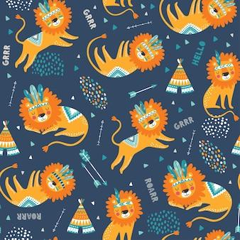 Симпатичные племенные львы бесшовные модели. симпатичные ребяческие повторяющиеся текстуры. мультяшные львы. шаблон для детской ткани.