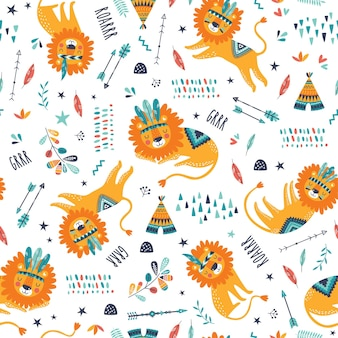 Cute tribal lions seamless pattern. cute childish repeated texture. cartoon lions. template for kids fabric.