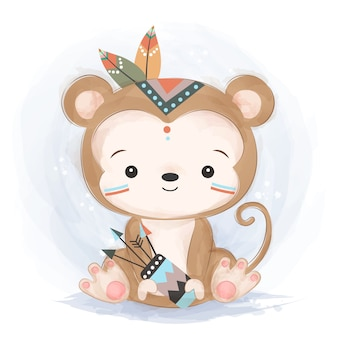 Cute tribal monkey illustration