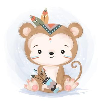 Милая иллюстрация обезьяны соплеменная
