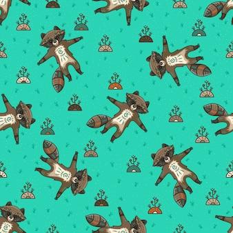 Симпатичные племенные еноты. Бесшовные модели