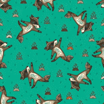 Cute tribal racoons. seamless pattern