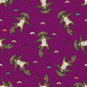 かわいい部族のアライグマ。シームレスパターン